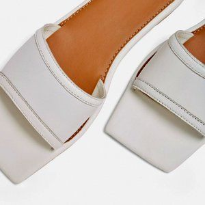 MISSGUIDED Square Toe Leather Flat Sandals | US 9